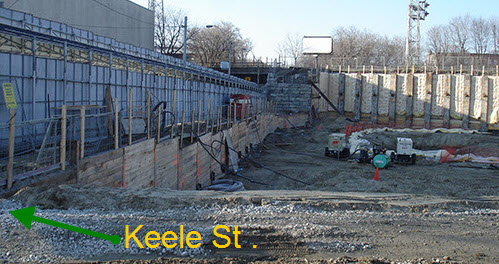 Soil level lower next to Keele sT.