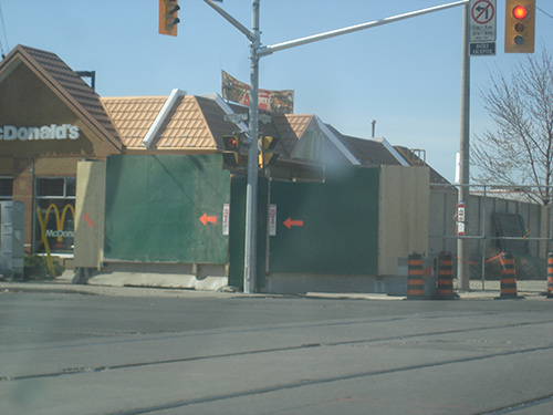 Horading on St Clair Ave West by the Mc Donalds onthe South West corner.