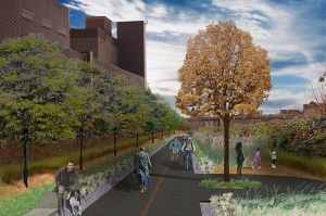 what the railpath will look like, Photo : Design by Scott Torrance Landscape Architects, from Friends of the West Toronto Railpath site