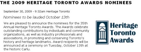 2009 HERITAGE TORONTO AWARDS