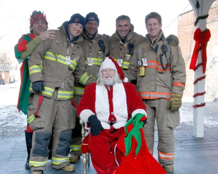 Elf, Santa, and Fire Fighters