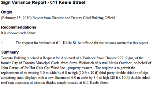 Sign Variance Report - 611 Keele Street